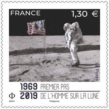 Weltraum: 50 Jahre Apollo 11 - Briefmarke postfrisch, Frankreich