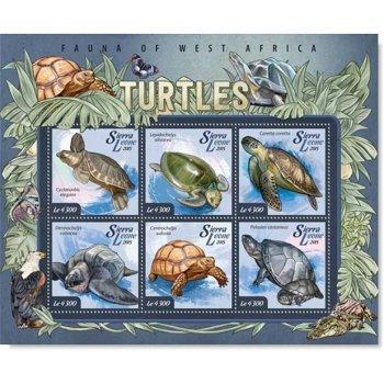 Tiere: Schildkröten - Briefmarkenblock postfrisch, Sierra Leone