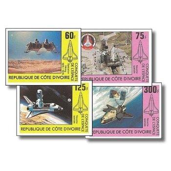 Raumfahrt - 4 Briefmarken ungezähnt postfrisch, Katalog-Nr. 680B-683B, Elfenbeinküste