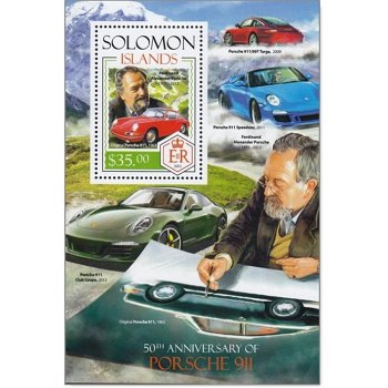 Autos: Porsche 911 - Briefmarken-Block postfrisch, Salomon-Inseln