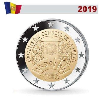 600 Jahre Consell de la Terra, 2 Euro Gedenkmünze 2019, Andorra