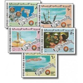 Amerikanisch-sowjetisches Raumfahrtunternehmen Apollo-Sojus - 5 Briefmarken ungezähnt postfrisch, Ka