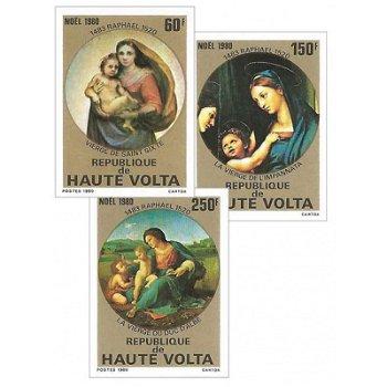 Weihnachten: Madonnengemälde von Raffael – Briefmarken postfrisch, ungezähnt, Katalog-Nr. 814-816, O
