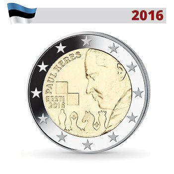 2 Euro Münze 2016, 100. Geburtstag von Paul Keres, Estland
