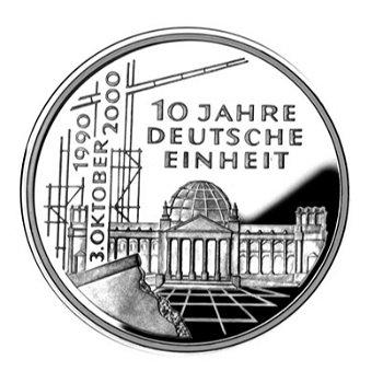 """10-DM-Silbermünze """"10 Jahre Deutsche Einheit"""", Polierte Platte"""