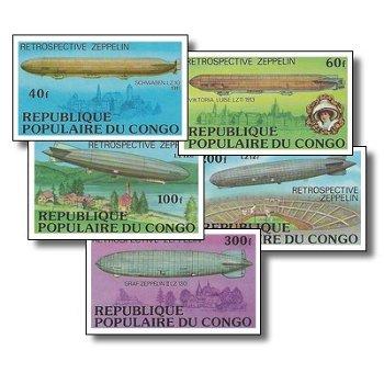 Zeppelin-Luftschiffe - 5 Briefmarken ungezähnt postfrisch, Katalog-Nr. 577-581B, Kongo