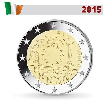 30 Jahre Europaflagge, 2 Euro Münze 2015, Irland