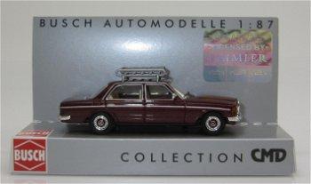 Modellauto:Mercedes-Benz W 123 mit Dachgepäckträger, rot(Busch, 1:87)