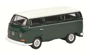 Modellauto:VW T2 Bus, grün-weiß(Schuco, 1:87)