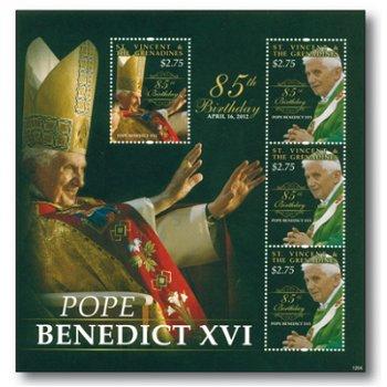 85. Geburtstag von Papst Benedikt XVI. - Briefmarken-Block postfrisch, St. Vincent und Grenadinen