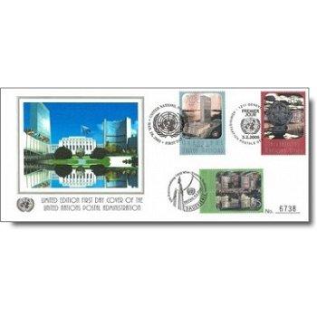 Freimarken: UNO-Gebäude mit Hologrammen, Trio-Brief, UNO