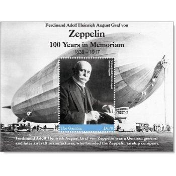 100. Todestag von Ferdinand Graf von Zeppelin - Briefmarkenblock postfrisch, Gambia