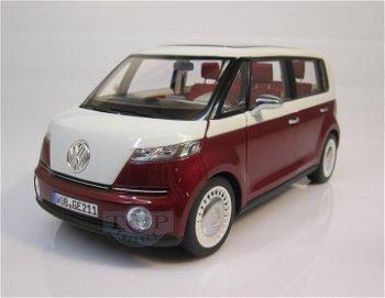 Modellauto:VW Bulli - Studie -, rot-weiß(Norev, 1:18)