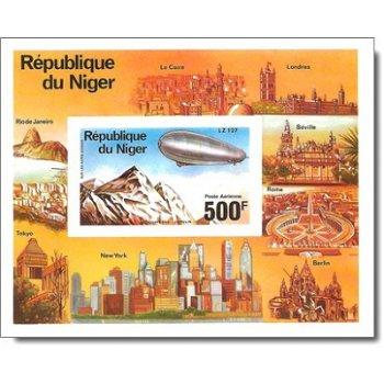 Luftschiff-Zeppelin - Briefmarken-Block ungezähnt postfrisch, Katalog-Nr. 527 Bl. 14B, Niger