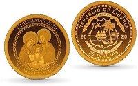 Weihnachten 2020: Heilige Familie - 25 Dollars Goldmünze, Liberia