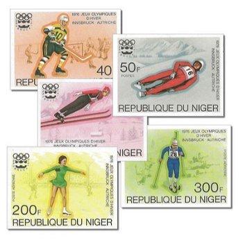 Olympische Winterspiele 1976 - 5 Briefmarken ungezähnt postfrisch, Katalog-Nr. 506-510, Niger