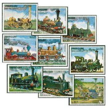 Historische Lokomotiven - neun Briefmarken, Paraguay