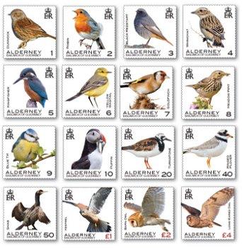 Vögel - 16 Briefmarken postfrisch, Alderney