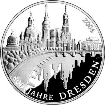 800 Jahre Dresden, 10-Euro-Silbermünze 2006, Stempelglanz
