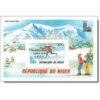 """Olympische Winterspiele 1980, Lake Placid """"Aufdruck"""" - Briefmarken-Block ungezähnt postfri"""