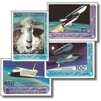 Raumfahrt – Briefmarken postfrisch, ungezähnt, Katalog-Nr. 625-628, Komoren