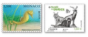 Europa 2021: Gefährdete nationale Tierwelt - 2 Briefmarken postfrisch, Monaco / Frankreich