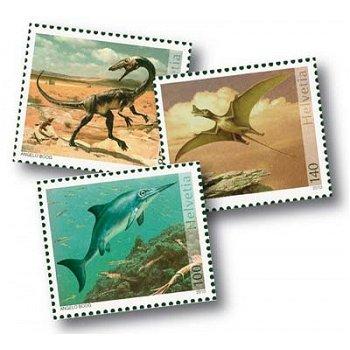 Dinosaurier - 3 Briefmarken postfrisch, Schweiz