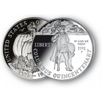 Christoph Kolumbus - Silberdollar 1992, 1 Dollar Silbermünze, USA