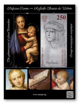 500. Todestag: Raffael - Briefmarkenblock postfrisch, Kirgisien