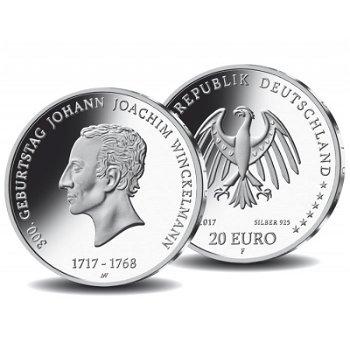 Johann Joachim Winckelmann, 20 Euro Silbermünze 2017, Stempelglanz, Deutschland
