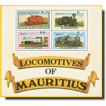 Lokomotiven - Briefmarken-Block postfrisch, Katalog-Nr. 470-473 / Bl. 9, Mauritius