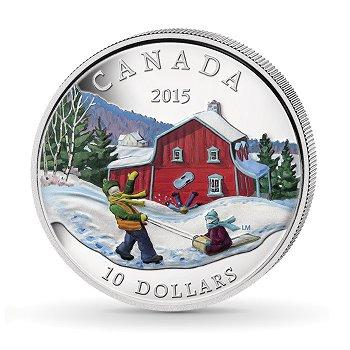 Winter in Canada, 10 Dollar Silbermünze mit Farbauflage, Canada