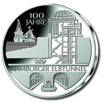 100 Jahre Hamburger Elbtunnel, 10-Euro-Münze 2011, Stempelglanz