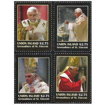 5. Jahrestag Papst Benedikt XVI. - 4 Briefmarken postfrisch, St. Vincent & Grenadinen