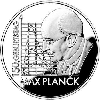 150. Geburtstag Max Planck, 10-Euro-Silbermünze 2008, Polierte Platte