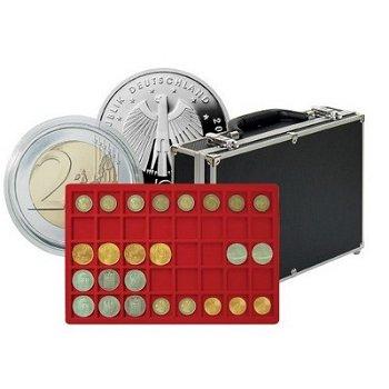 Großer Münzen-Sammelkoffer mit 8 Münztableaus für 320 Münzen oder Münzkapseln bis 34 mm Ø, Lindner 2