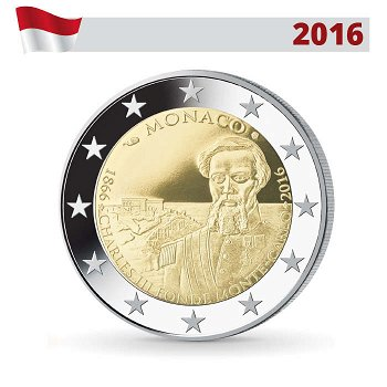 2 Euro Münze 2016, Gründung Monte Carlo, Polierte Platte, Monaco