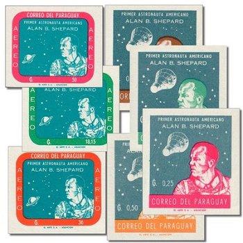 Weltraum/Alan B. Shepard - 7 Briefmarken postfrisch ungezähnt, Katalog-Nr. 972-78, Paraguay