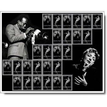 Miles Davis und Edith Piaf, Gemeinschaftsausgabe mit USA - Briefmarken-Kleinbogen postfrisch, Frankr