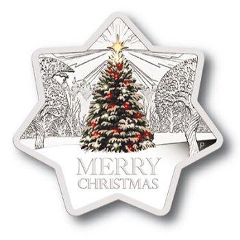Der Weihnachtsstern, 1 Dollar Silbermünze mit Farbauflage, Australien
