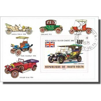 Historische Autos - Briefmarken-Block, Burkina Faso