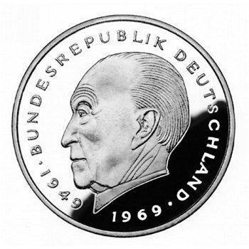 """2-DM-Münzen """"Konrad Adenauer"""" - Jahrgang 1985, alle vier Prägezeichen"""
