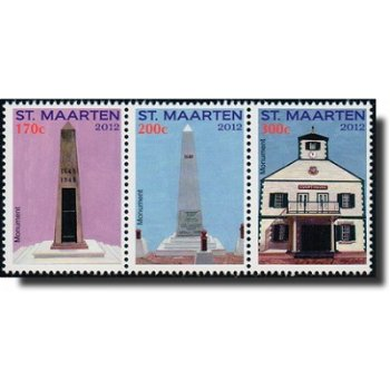 Monumente - 3 Briefmarken im Streifen postfrisch, Sint Maarten