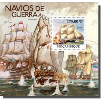 Kriegsschiffe - Briefmarken-Block, Mocambique