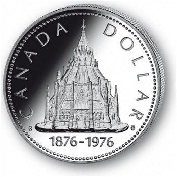 Parlamentsbibliothek - Silberdollar 1976, 1 Dollar Silbermünze, Canada