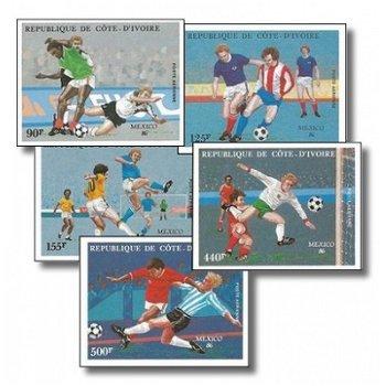 Fußballweltmeisterschaft 1986, Mexiko - 5 Briefmarken ungezähnt postfrisch, Katalog-Nr. 913B-917B, E