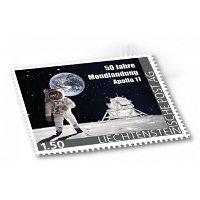 50 J. Mondlandung - Briefmarke mit Mondlandefähre Eagle aus Titan, postfrisch,Liechtenstein