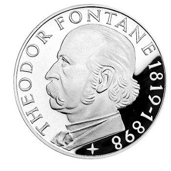 150. Geburtstag Theodor Fontane, 5-DM-Silbermünze, Polierte Platte