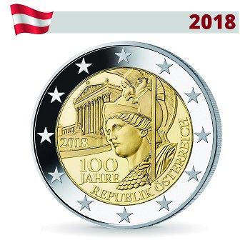 100 Jahre Republik Österreich, 2 Euro Münze 2018, Österreich