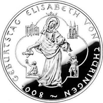 800 Jahre Heilige Elisabeth, 10-Euro-Silbermünze 2007, Polierte Platte